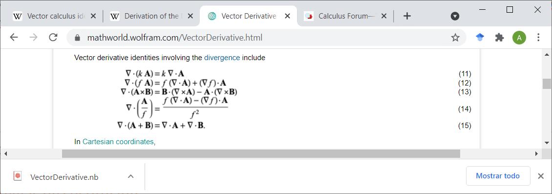 Divergence identities from wolfram mathworld