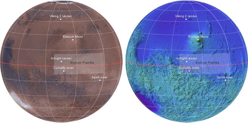 Satellite image and topography of Mars showing InSight landing site and surrounding features and probes