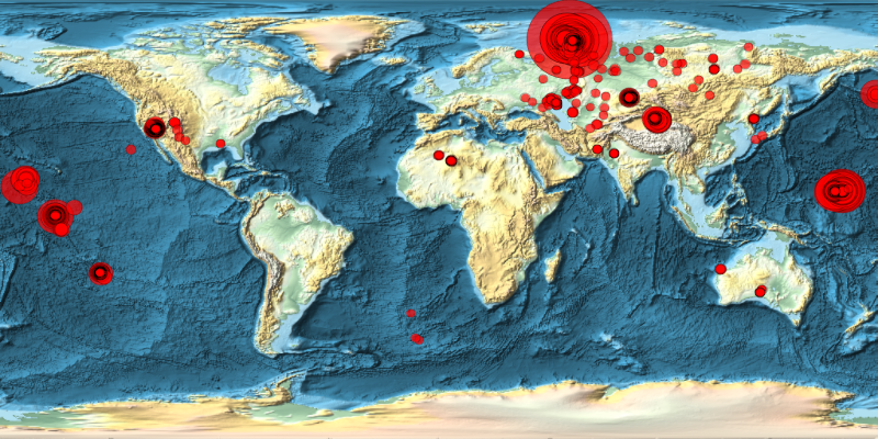Location of known nuclear explosions across the world