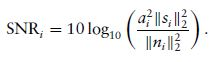Signal to noise ratio equation