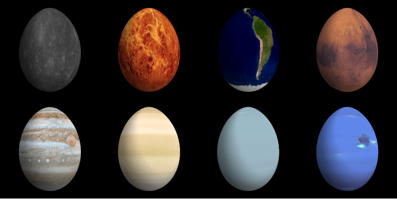 The planets as Easter eggs