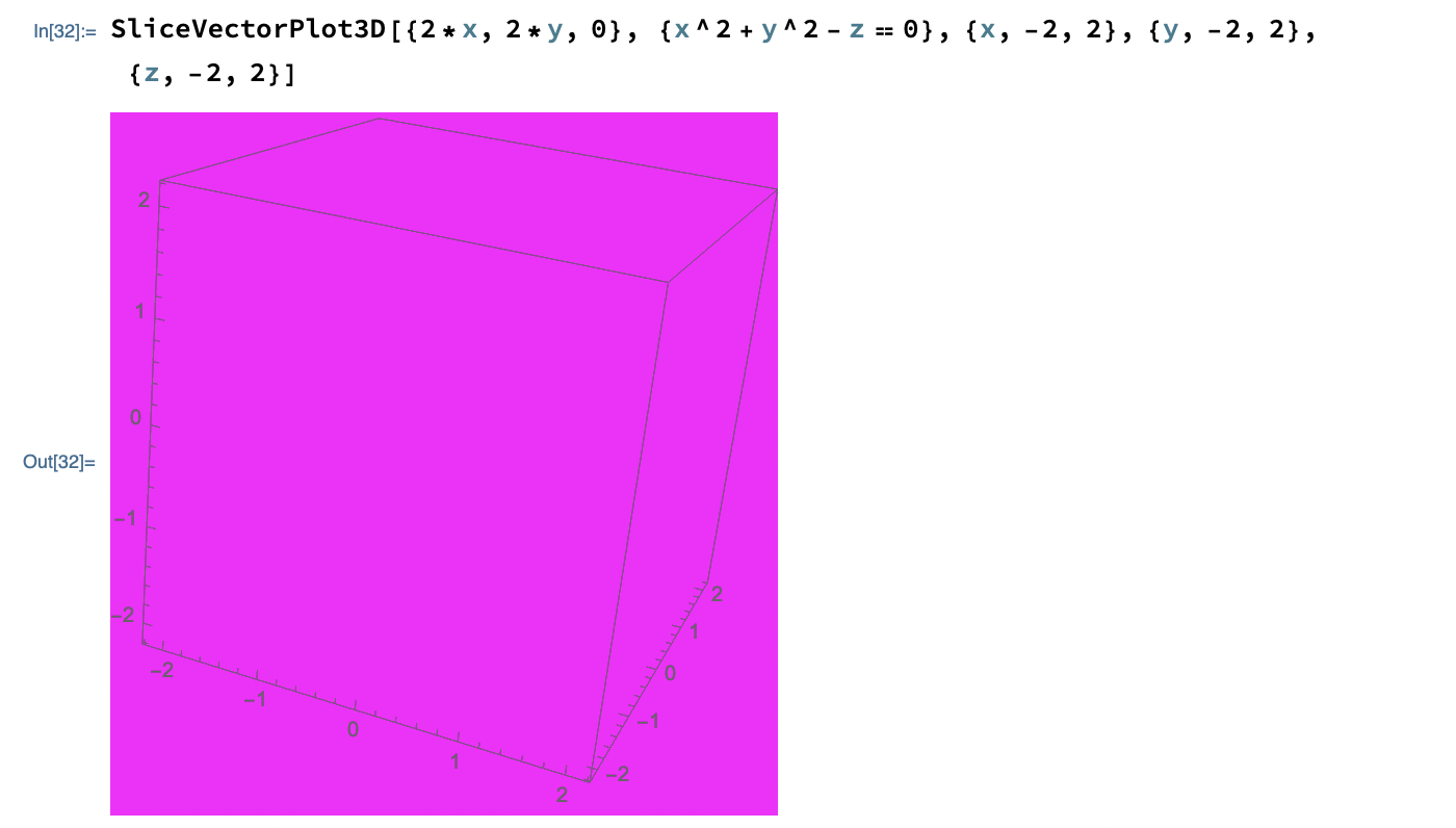 When I execute the SliceVectorPlot3D command, I get an output as shown below. I cannot see the surface, and it's entirely purple for some reason. This is the only running line in the Notebook. However, when I move around the axes with my cursor or interact with the output,  I am able to see the surface clearly and accurately. Why is the purple colour showing? How do I fix it?