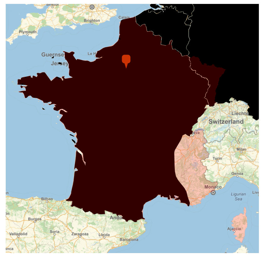 Point in France in relation to its borders in 1940