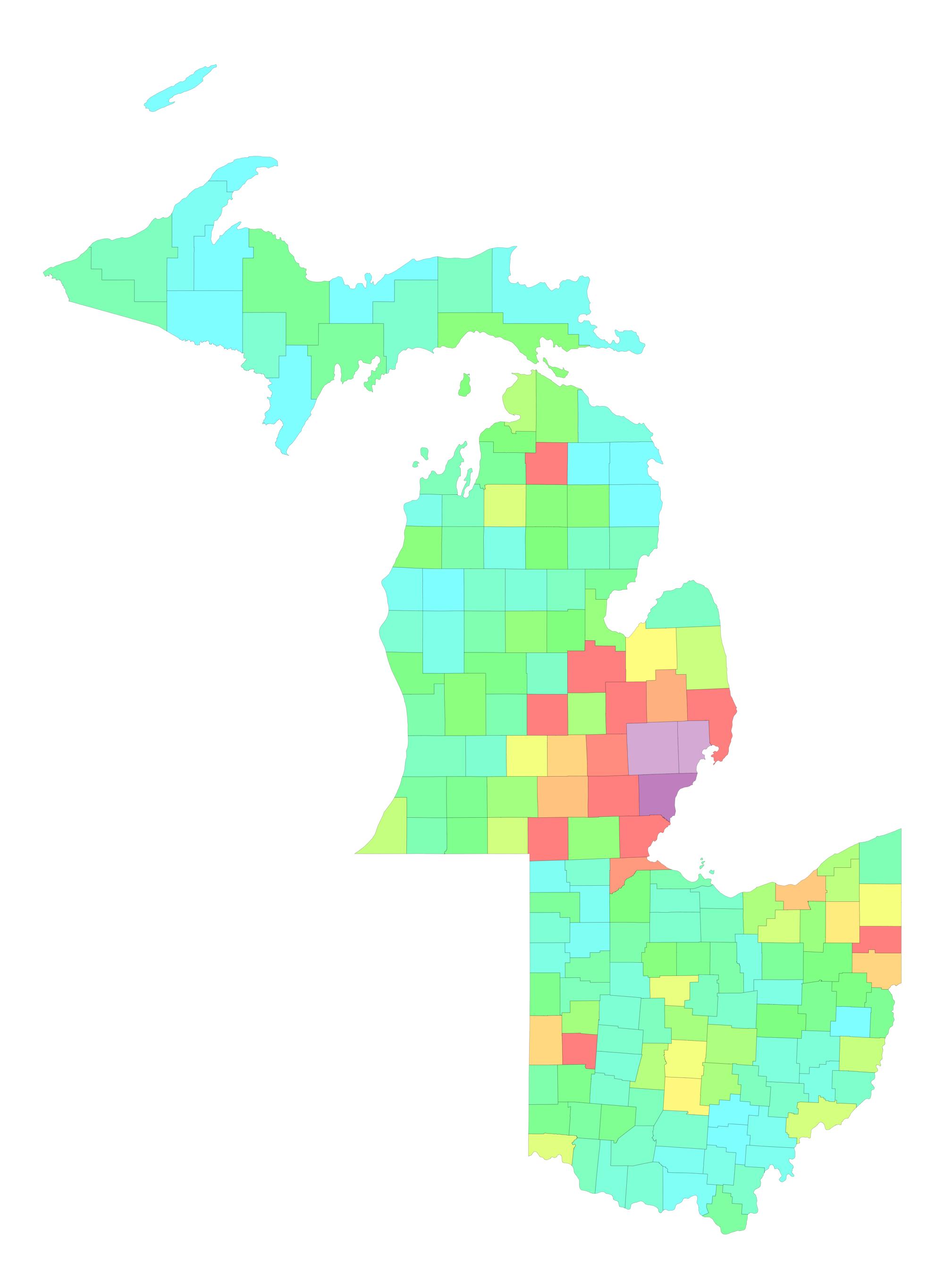 Map of Michigan and Ohio