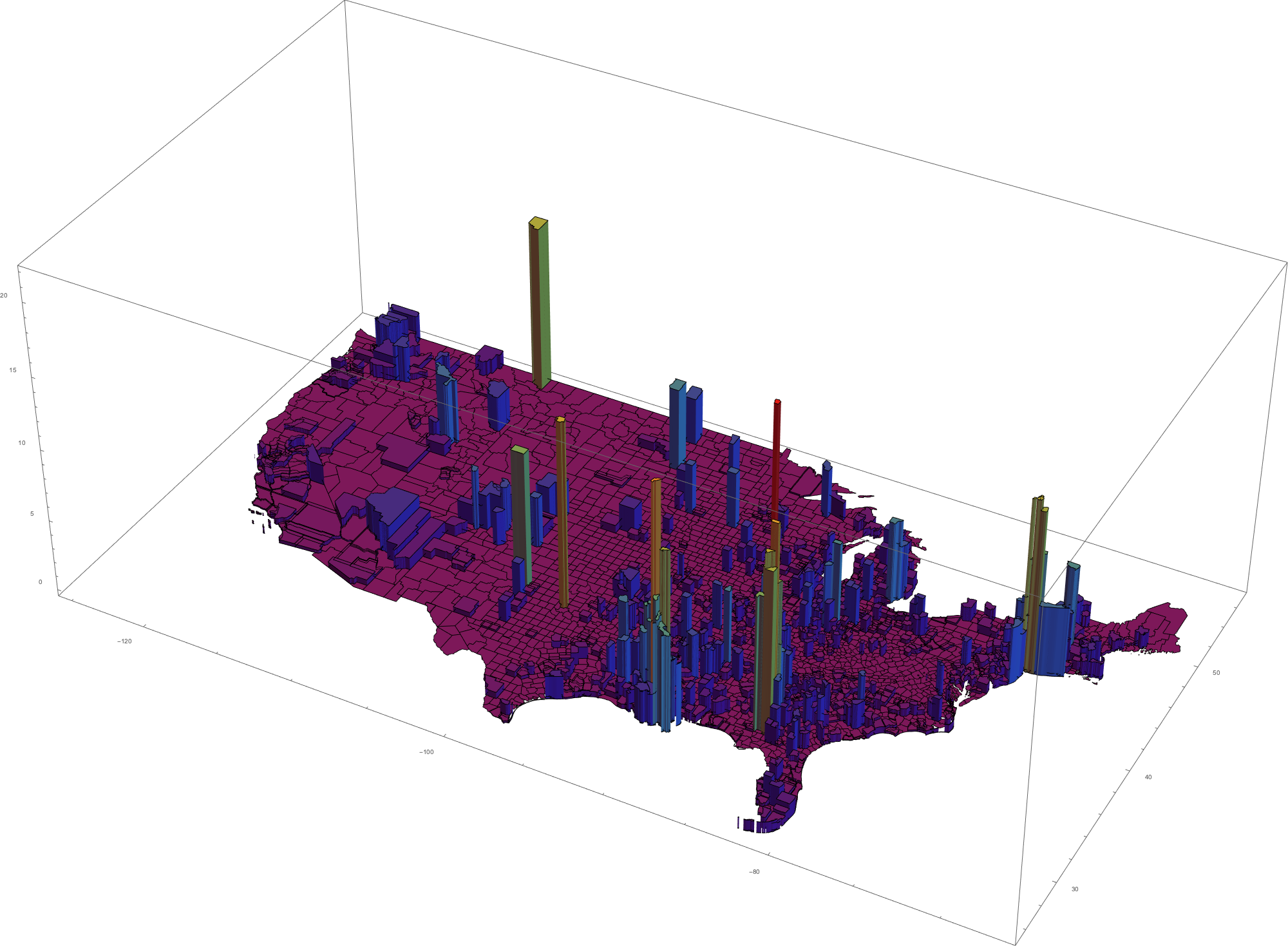 3D Map of continental US