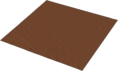 Scaled 3D surface plot of elevation data surrounding the InSight landing site