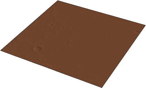 Scaled and zoomed 3D surface plot of elevation data surrounding the InSight landing site