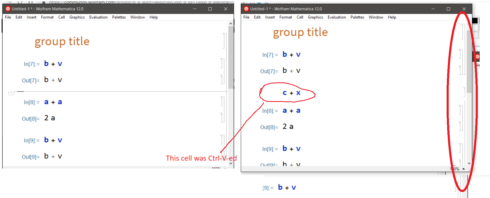 one cell added wia Ctrl-V