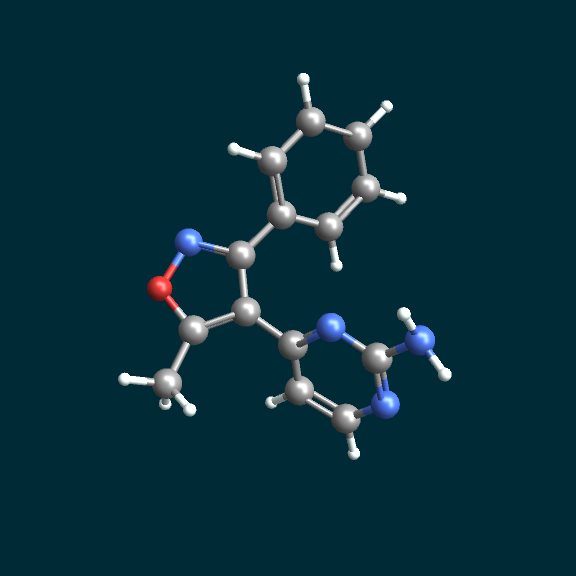 ball-and-stick model displayed with MoleculeViewer