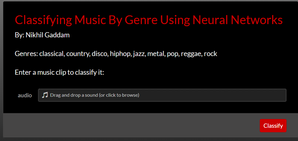 WSC18] Classifying Music By Genre Using Neural Networks