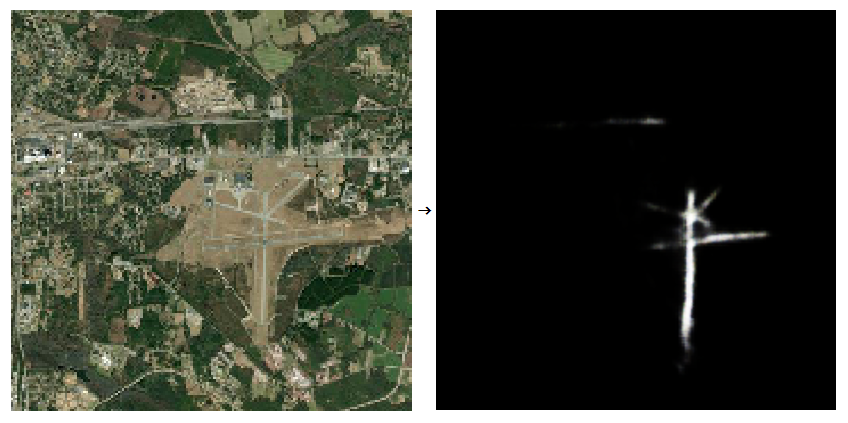 a satellite image and the runway identified by the neural network