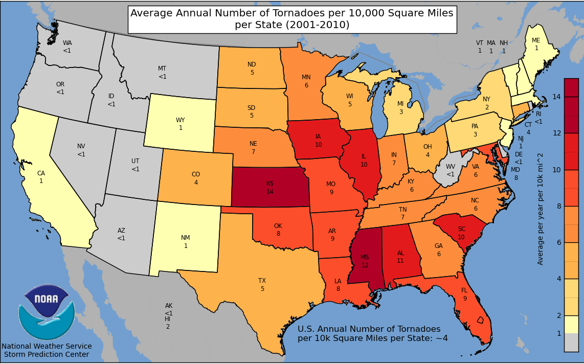 Tornadoes per Square Mile by State