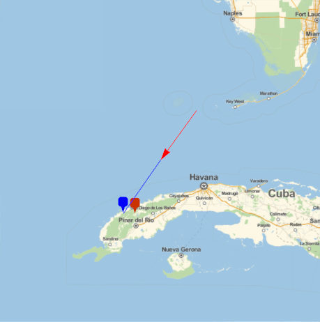 trajectory of the Cuba meteor of 1 Feb 2019