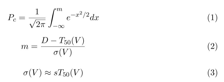 equations 1-3 defining P, m, and sigma