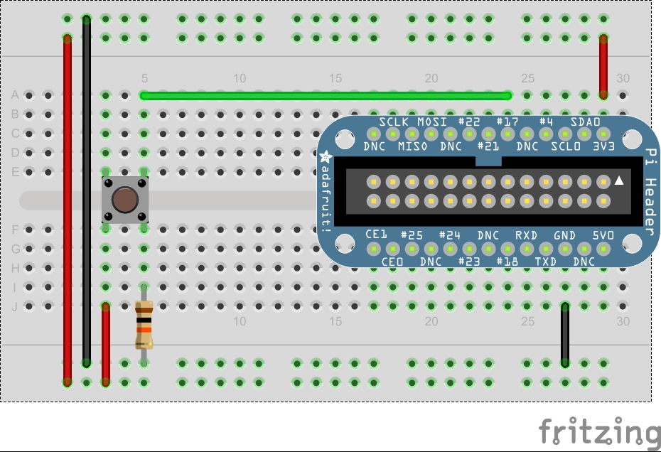 Fritzing diagram of GPIO pin connected to a button and resistor