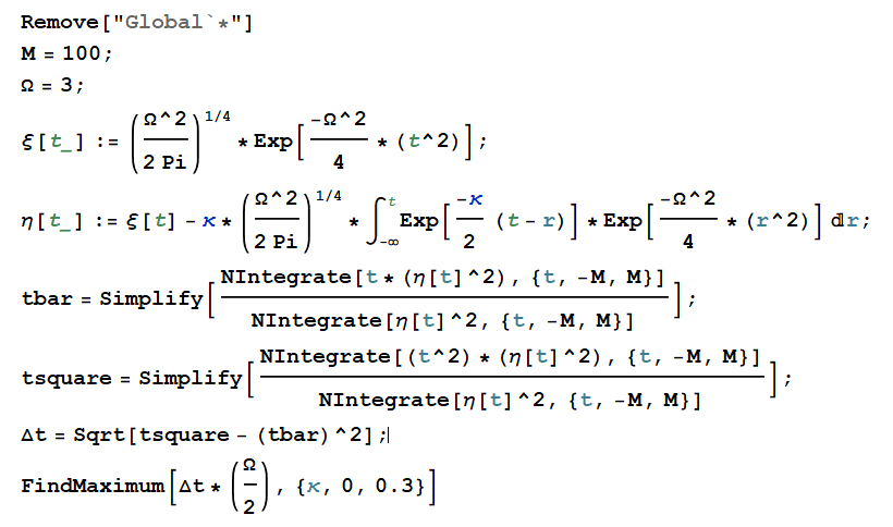 The Mathematica codes
