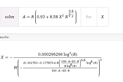 Wolfram Alpha's solution to my equation