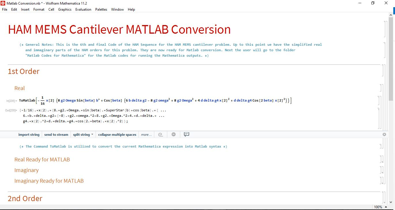 Mathematica interface with code