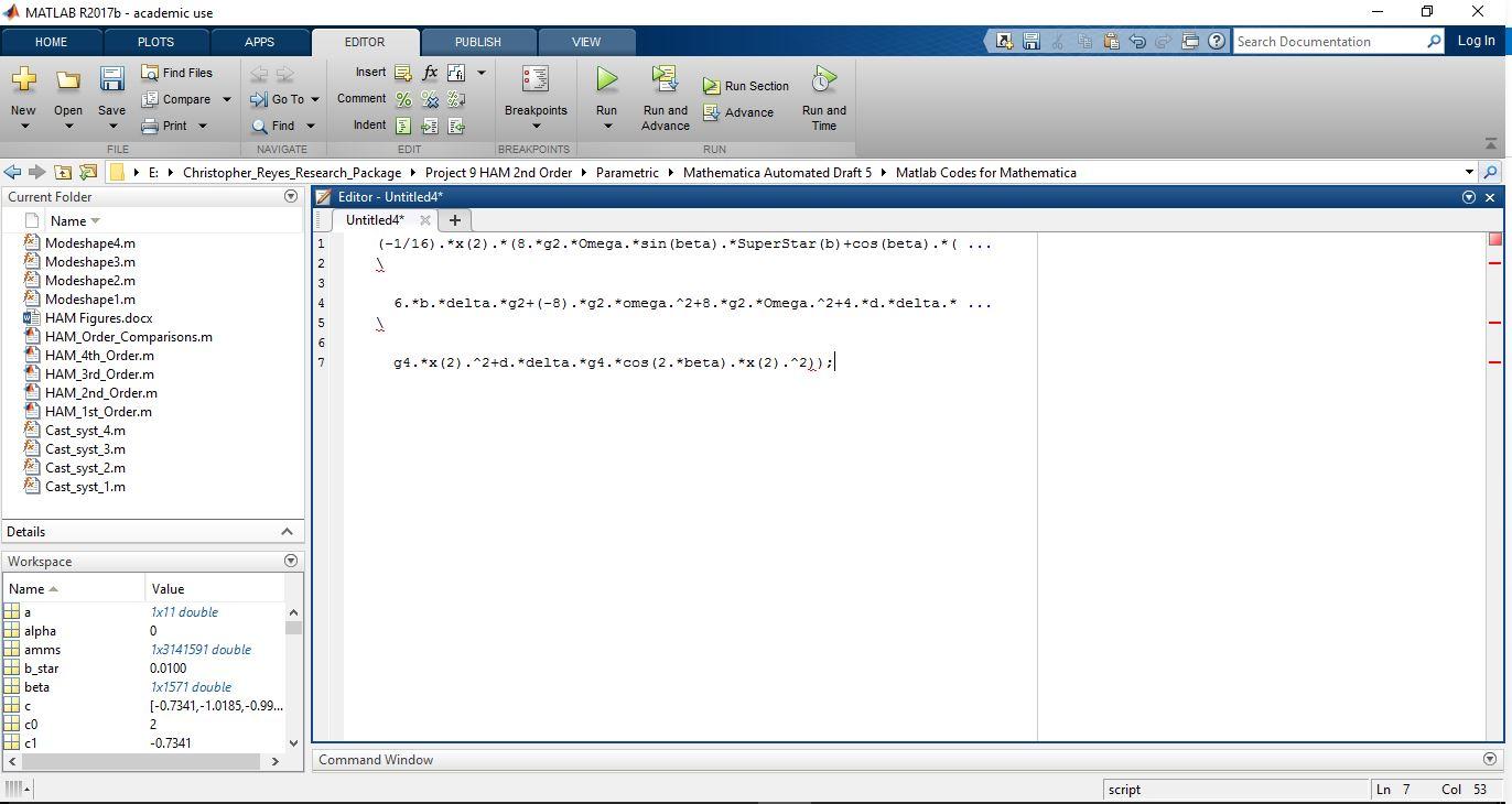 Incorrect Matlab Syntax