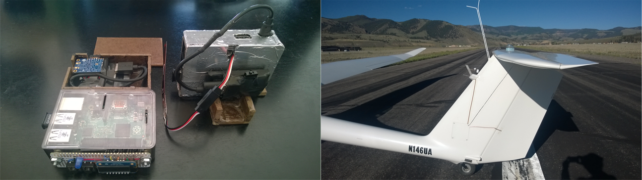 Left: Prototype Pi and sensor setup.  Right: ILOCI attached to a small plane for a test flight.