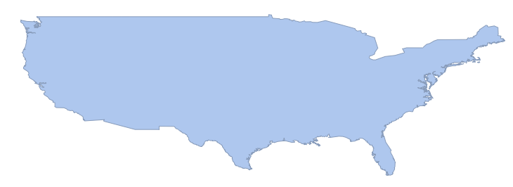 conterminous US in the CylindricalEqualArea projection