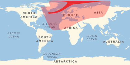 Eclipse on March 20 showing regions where totality can be seen in darker red, and partial eclipse in lighter red