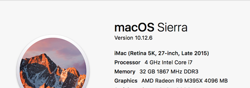 My iMac system info