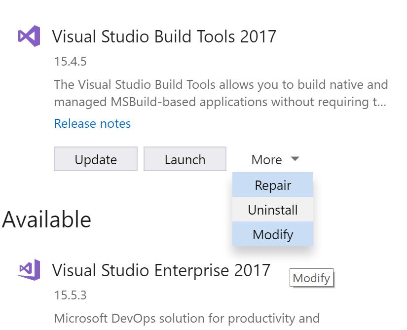 Build tools installer