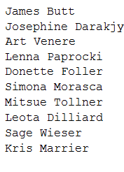 list of first ten first names of the data