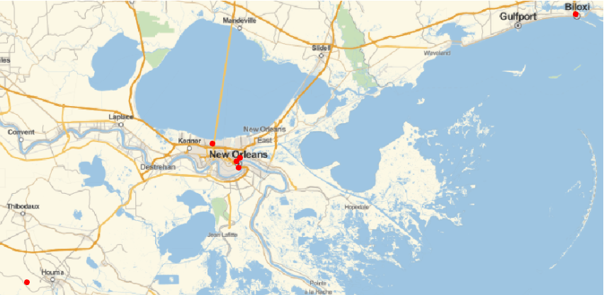 results of searching zip code near New Orleans
