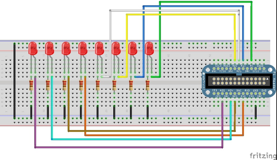 Fritzing diagram of Cobbler breakout board hooked up to 8 LEDs