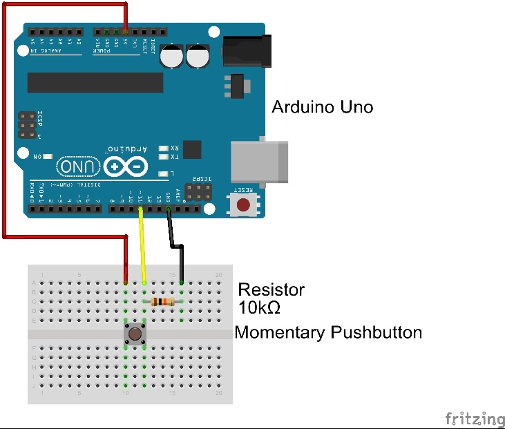 Fritzing diagram of button attached to Arduino