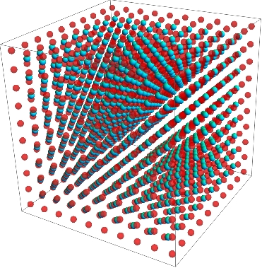 A typical body-centered cubic lattice.